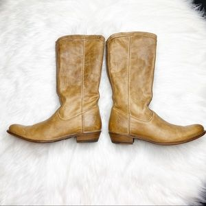 Fye Tan Leather Riding Boots Size 10